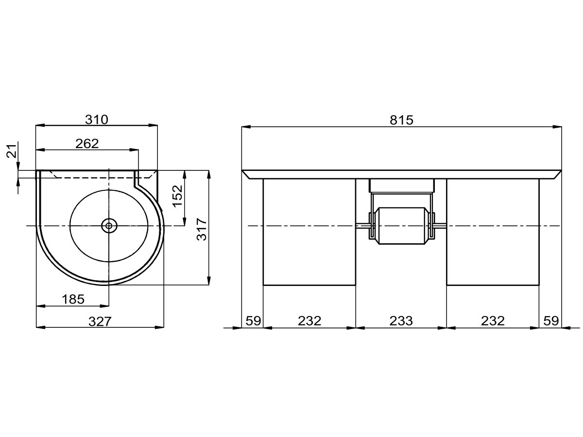 Technical Drawing - Twin Forward Curve Blower 600W