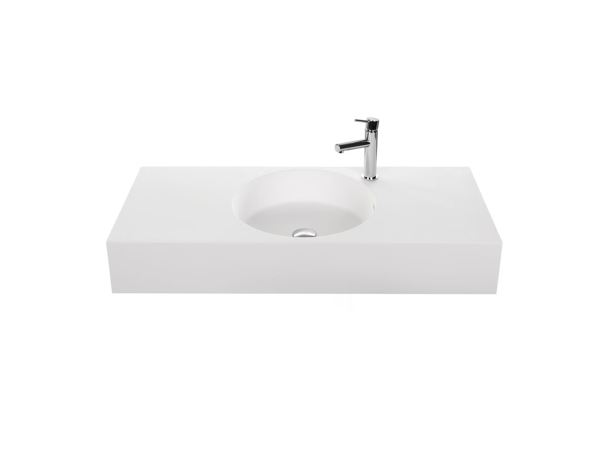 Neo 1000 Centered Solid Surface Wall Basin 1 Taphole White