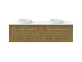 Kado Lux 1800mm All Drawer Wall Hung Vanity Unit 4 Drawers Double Bowl Vanity (No Basin)