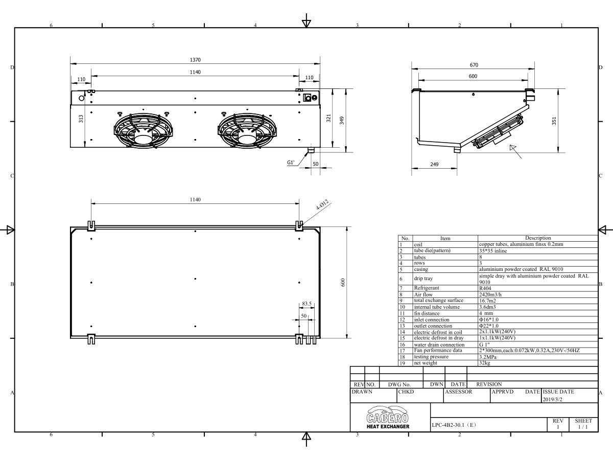 Cabero Low Profile Evaporator Low Temperature LPC4B2-30E-1