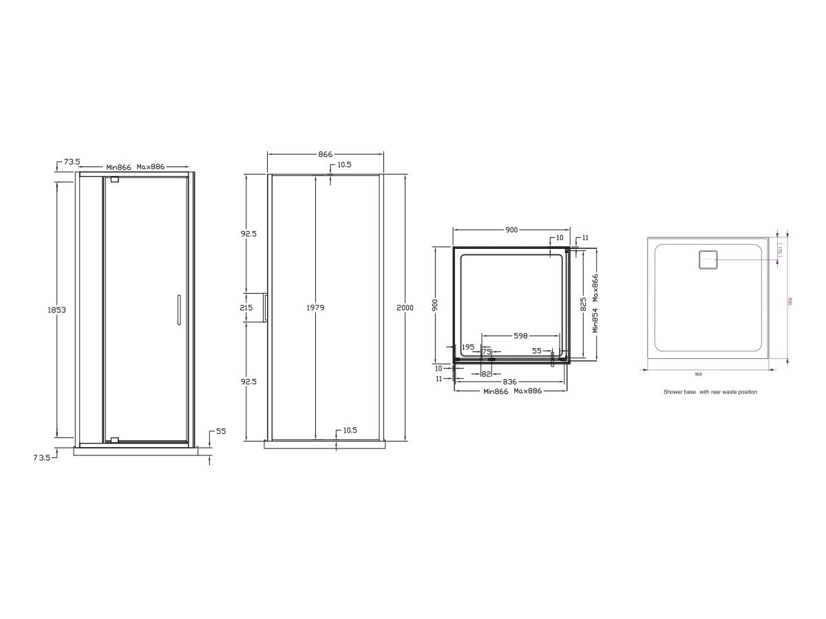 Base MKII Shower System with Rear Outlet 900mm x 900mm White & Chrome