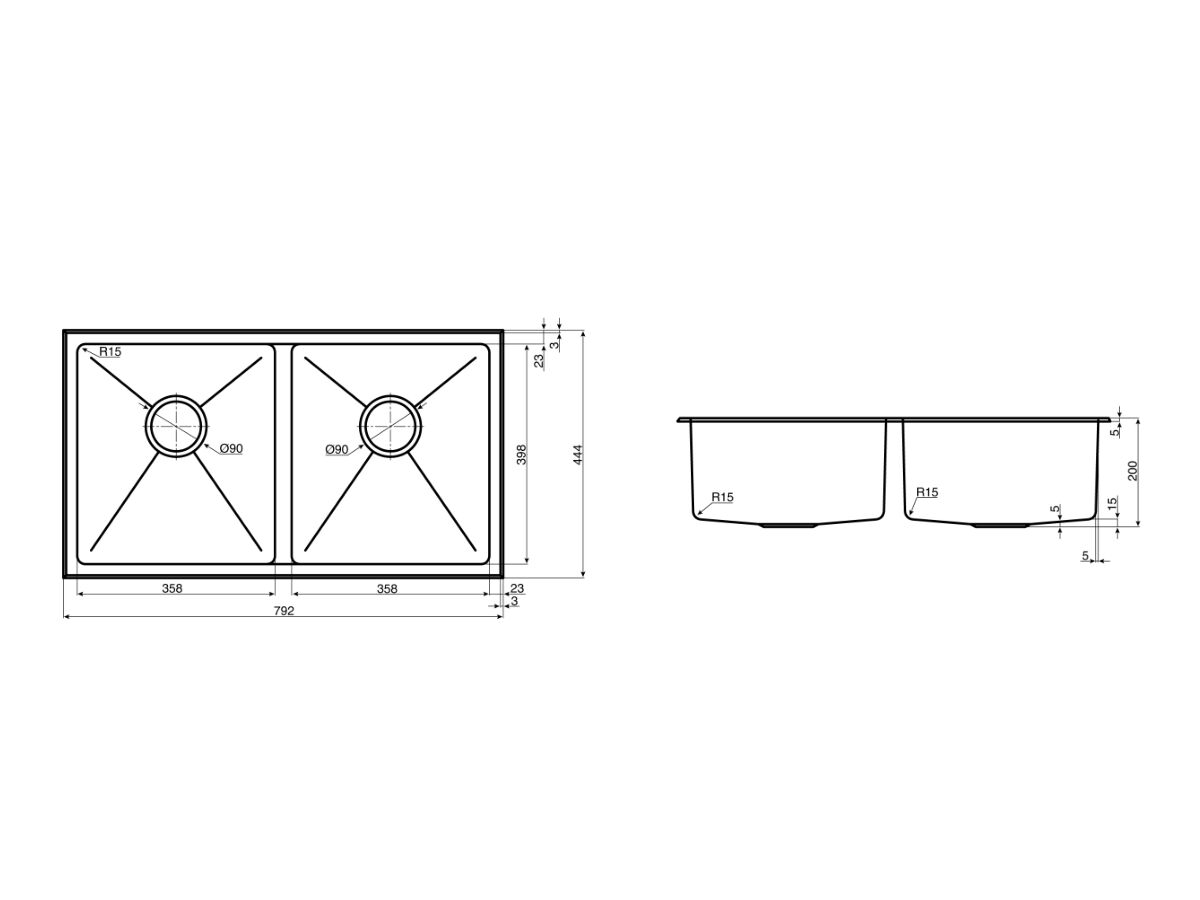 AFA Exact Double Bowl Inset / Undermount Sink No Taphole with Quick-Fit Clips 792mm Stainless Steel