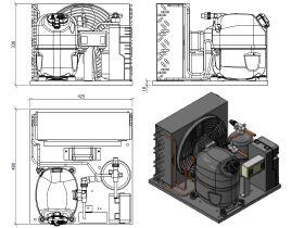 Tecumseh AJ2 HTA Condensing Unit 5/8HP R404 LBP CAJT2432ZBR-FZ-1 with Pressure Control