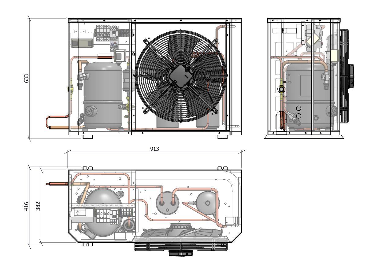 Tecumseh Compac Condensing Unit R134a PAC4518Y 3 Phase