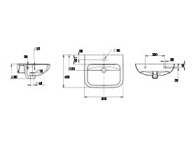 Wolfen Wall Basin with Overflow 1 Taphole 500 x 420