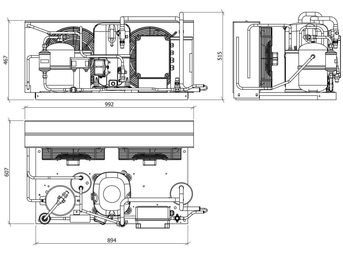 Tecumseh EVO Condensing Unit 4hp R404 LBP EPCL2516Z-3 Phase