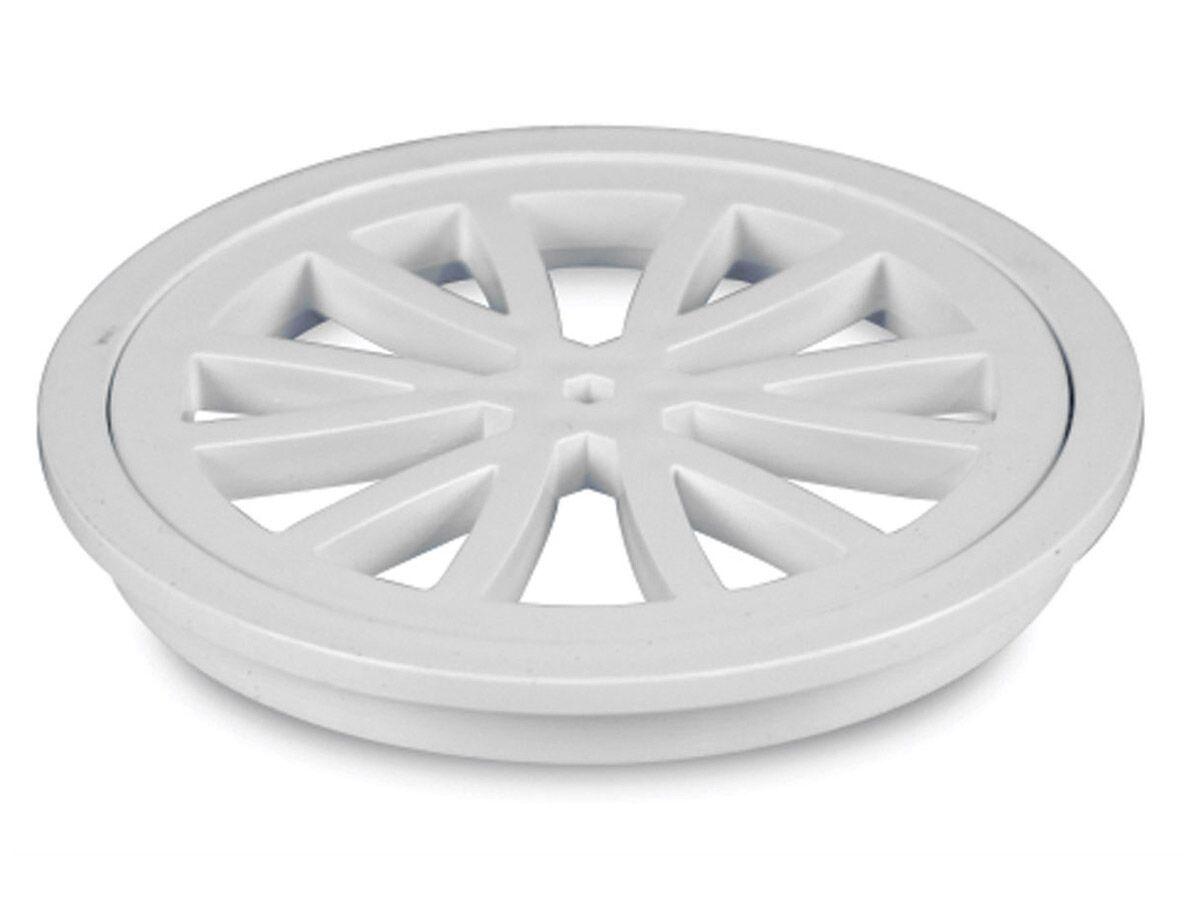 Stubby Floor Grate Plastic Round White 100mm