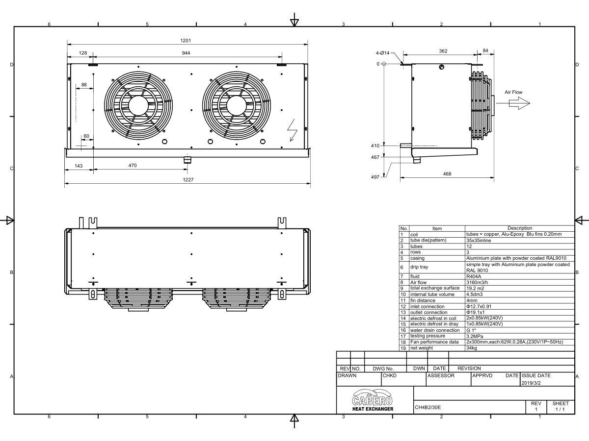 Cabero Evaporator Low Temperature CH4B2-30E-1