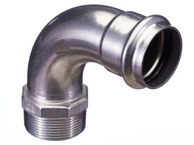 """>B< Press Stainless Steel Male Elbow 90 Degree 42mm x 1 1/2"""""""""""