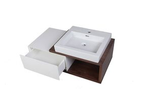 Mizu Bloc Wall Hung Vanity Unit No Basin Left Hand Drawer 900mm Walnut White