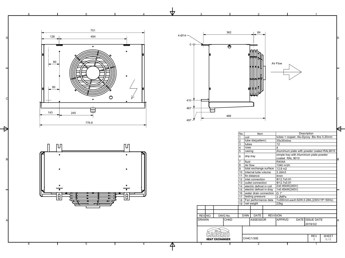 Cabero Evaporator Low Temperature CH4C1-30E-1
