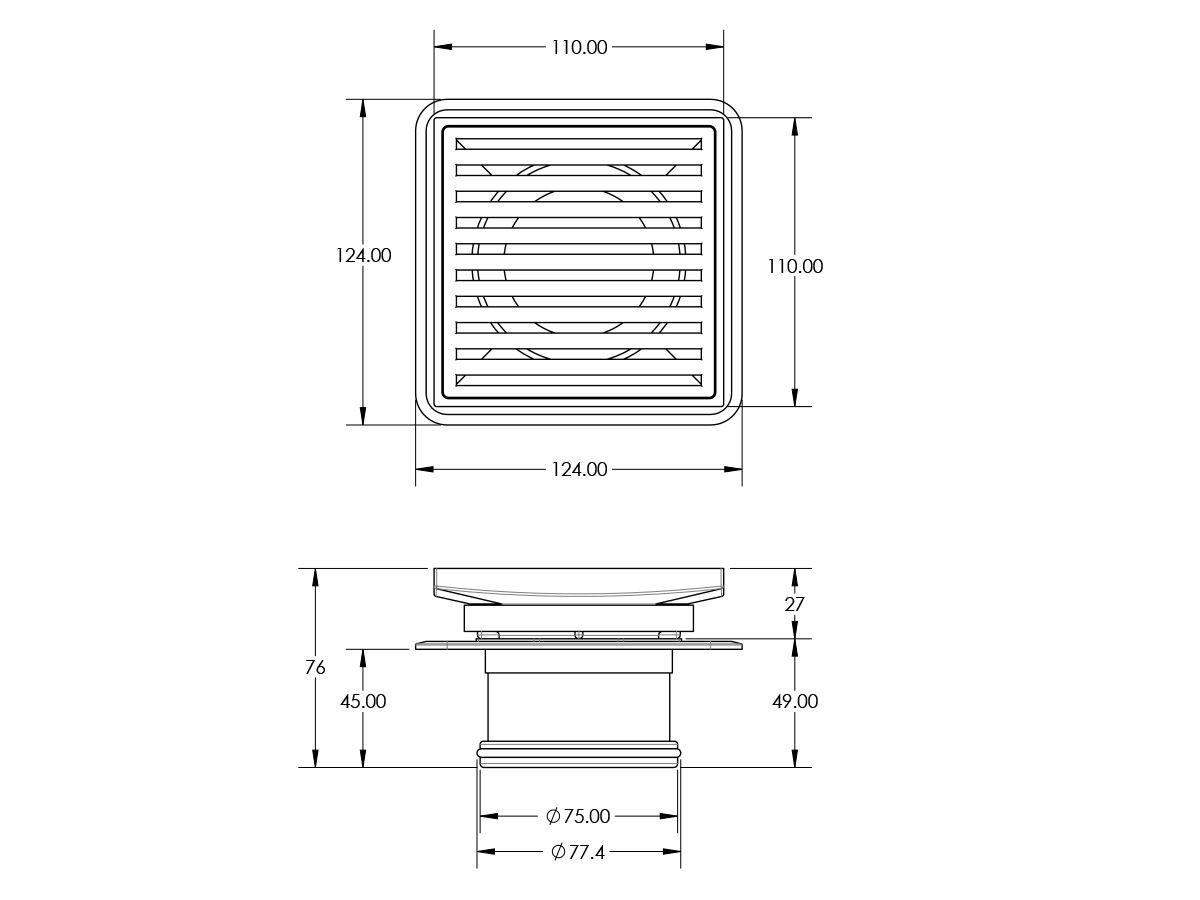 Mizu Square Floor Waste Stainless Steel 100mm x 80mm