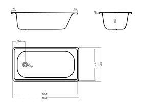 Base Pressed Steel Bath 1600 x 700mm White