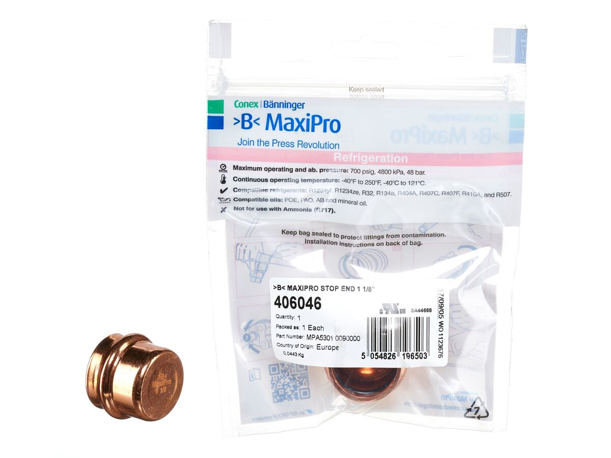 ">B< Maxipro Stop End 1 1/8"" Bag of 1"""