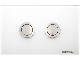 Hideaway+ Round Button Plate Inwall Glass White Chrome