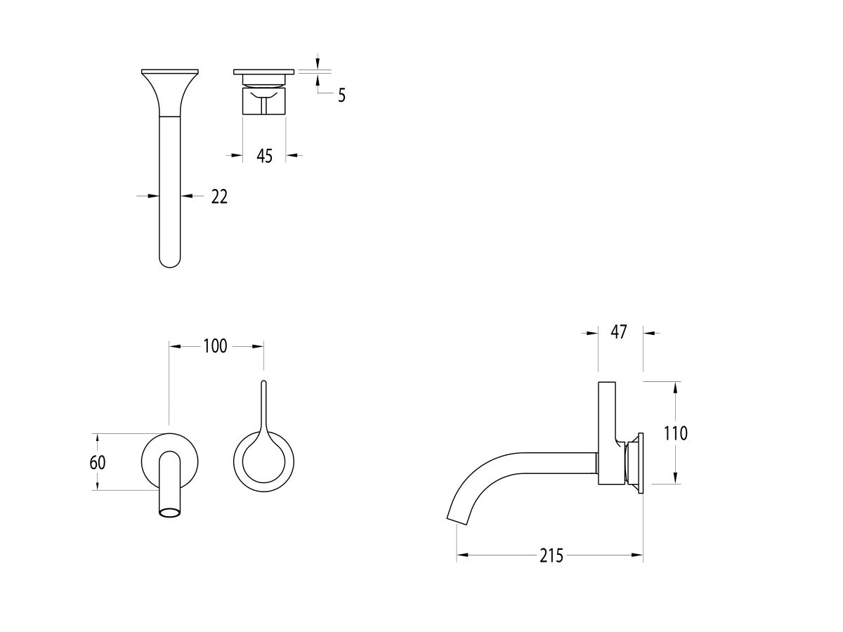 Milli Oria Wall Bath Mixer Outlet System 215mm