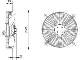 Technical Drawing - SolerPalau Fan 250mm 1Ph HRB/4-250BPN