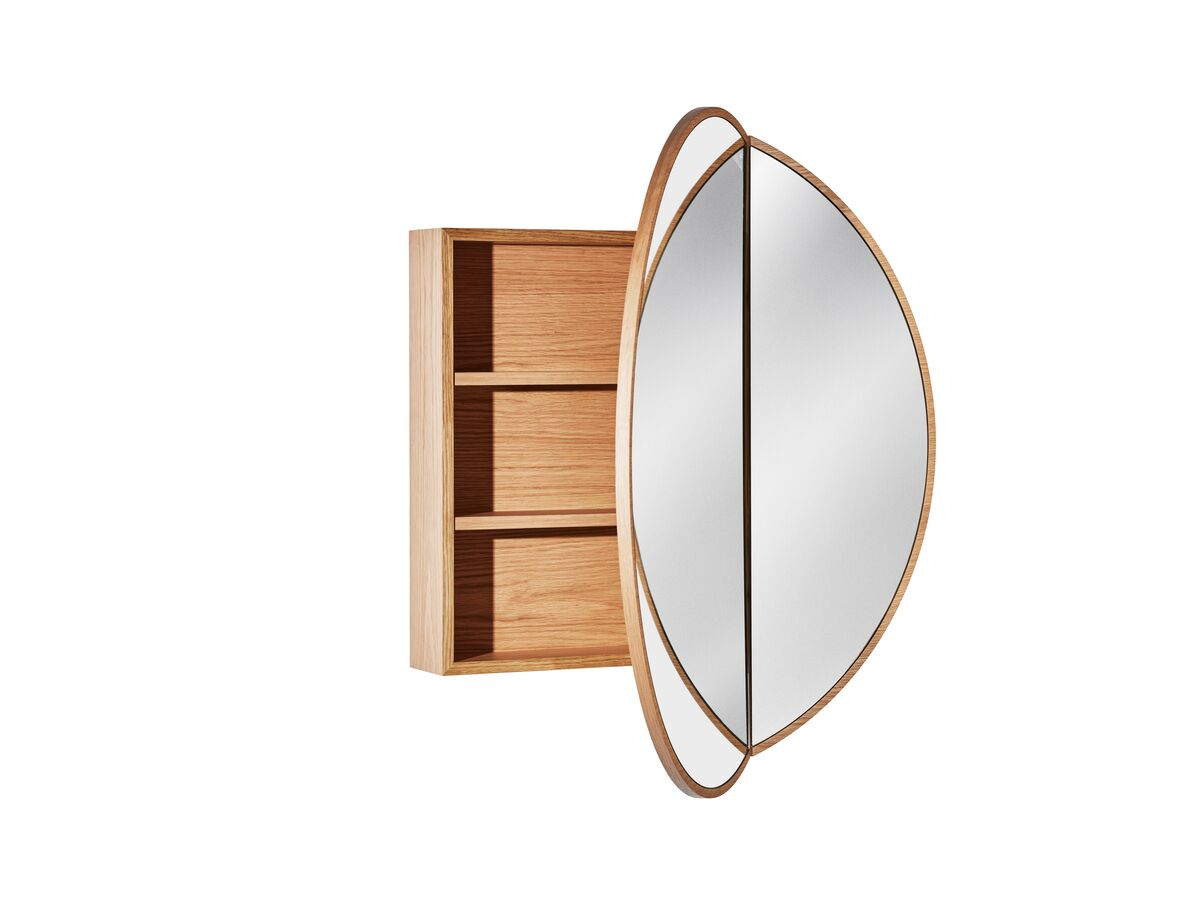 Issy Halo Round Shaving Cabinet-American Oak