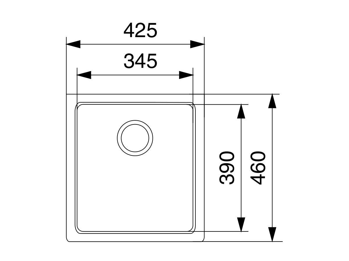 Franke Impact Granite IMG110-36 Single Bowl Undermount Sink Only Polar White