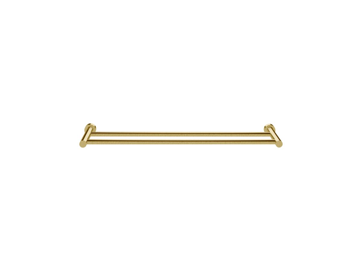 Scala Double Towel Rail 700mm LUX PVD Brushed Pure Gold