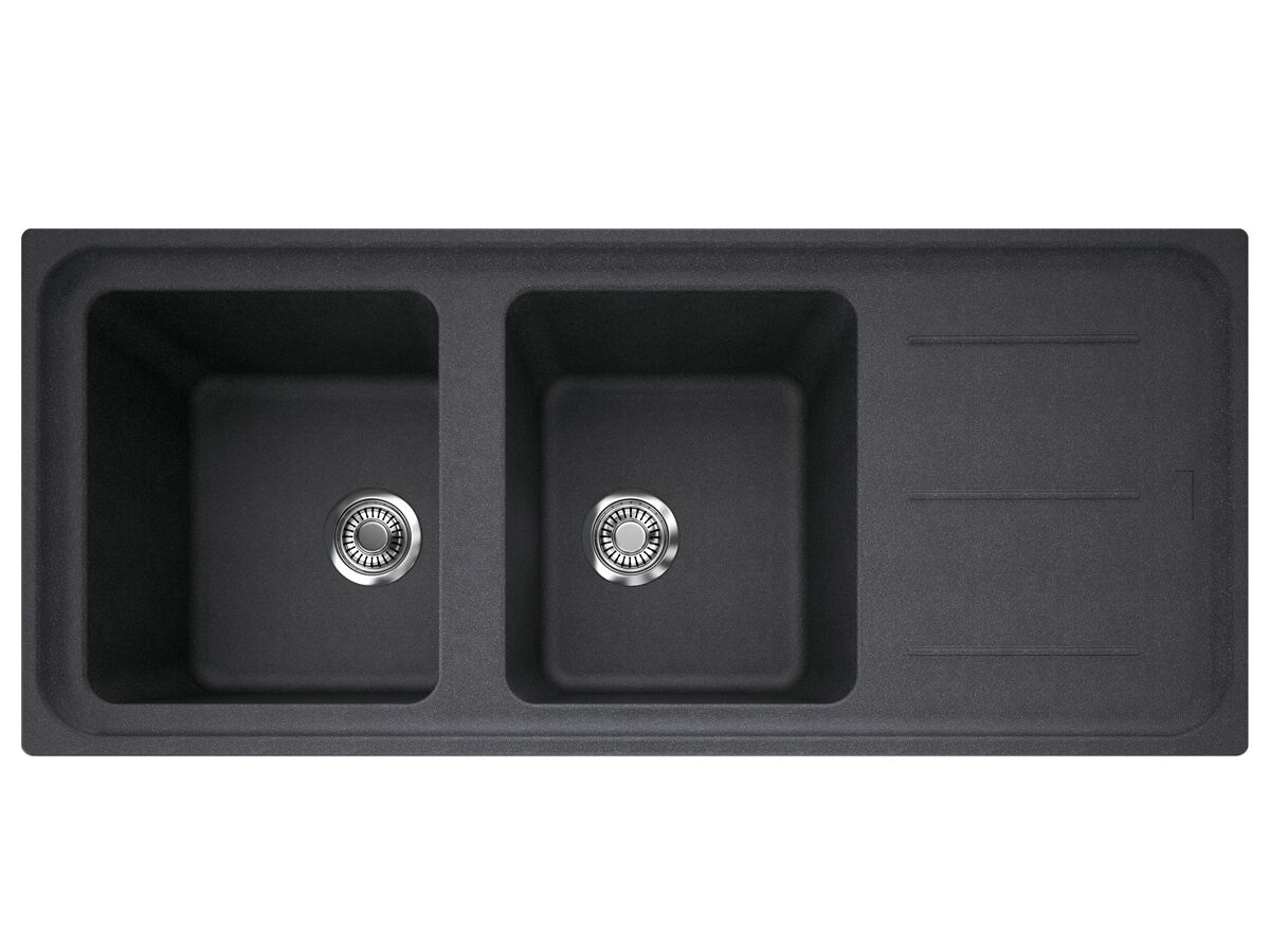 Franke Impact Granite Reversible Double Bowl Sink Only with Drainer Reversible No Taphole Black Onyx