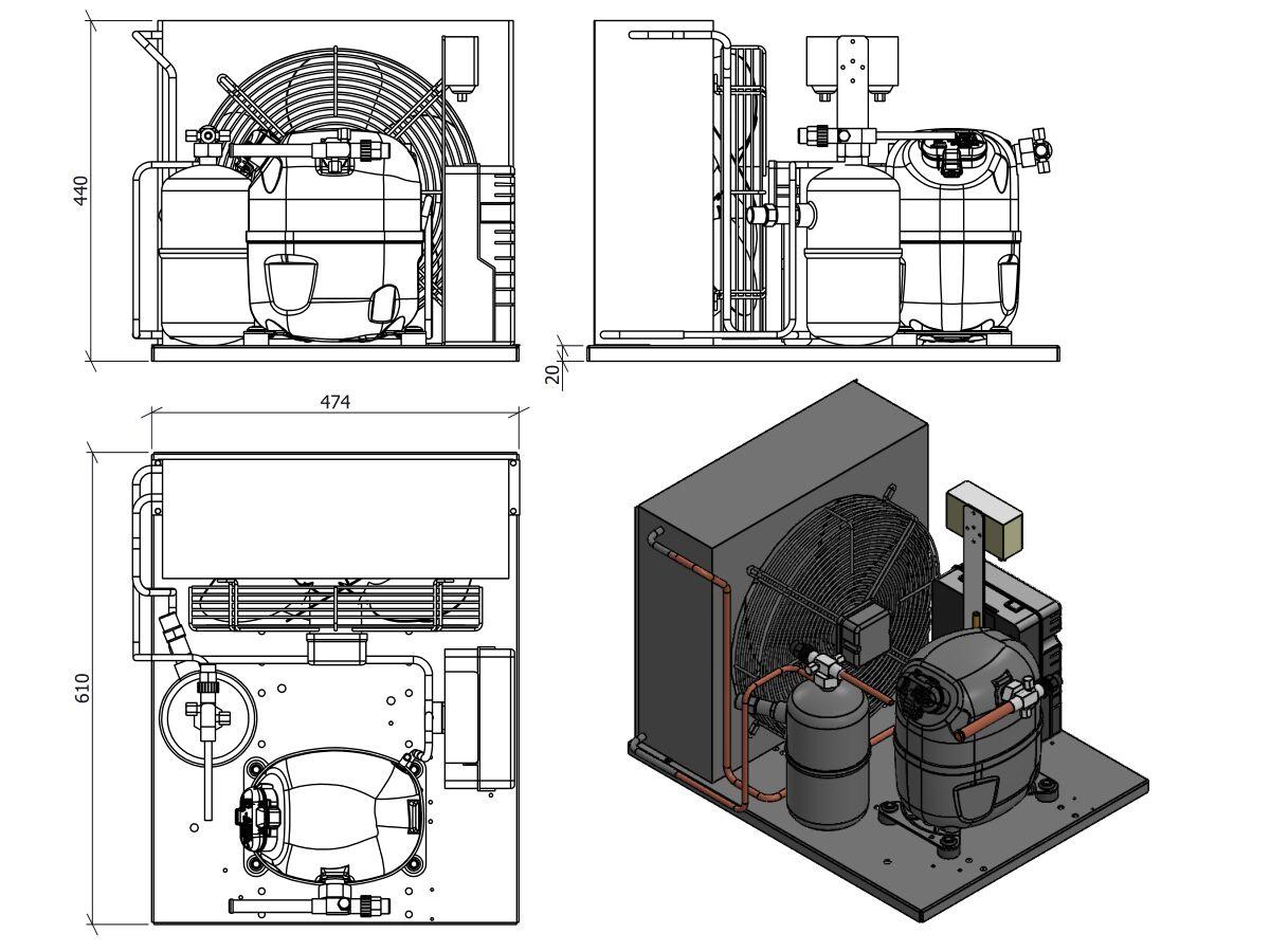 Tecumseh Condensing Unit R404a Cajt9513zmh-Fz No Receiver or Pressure Control