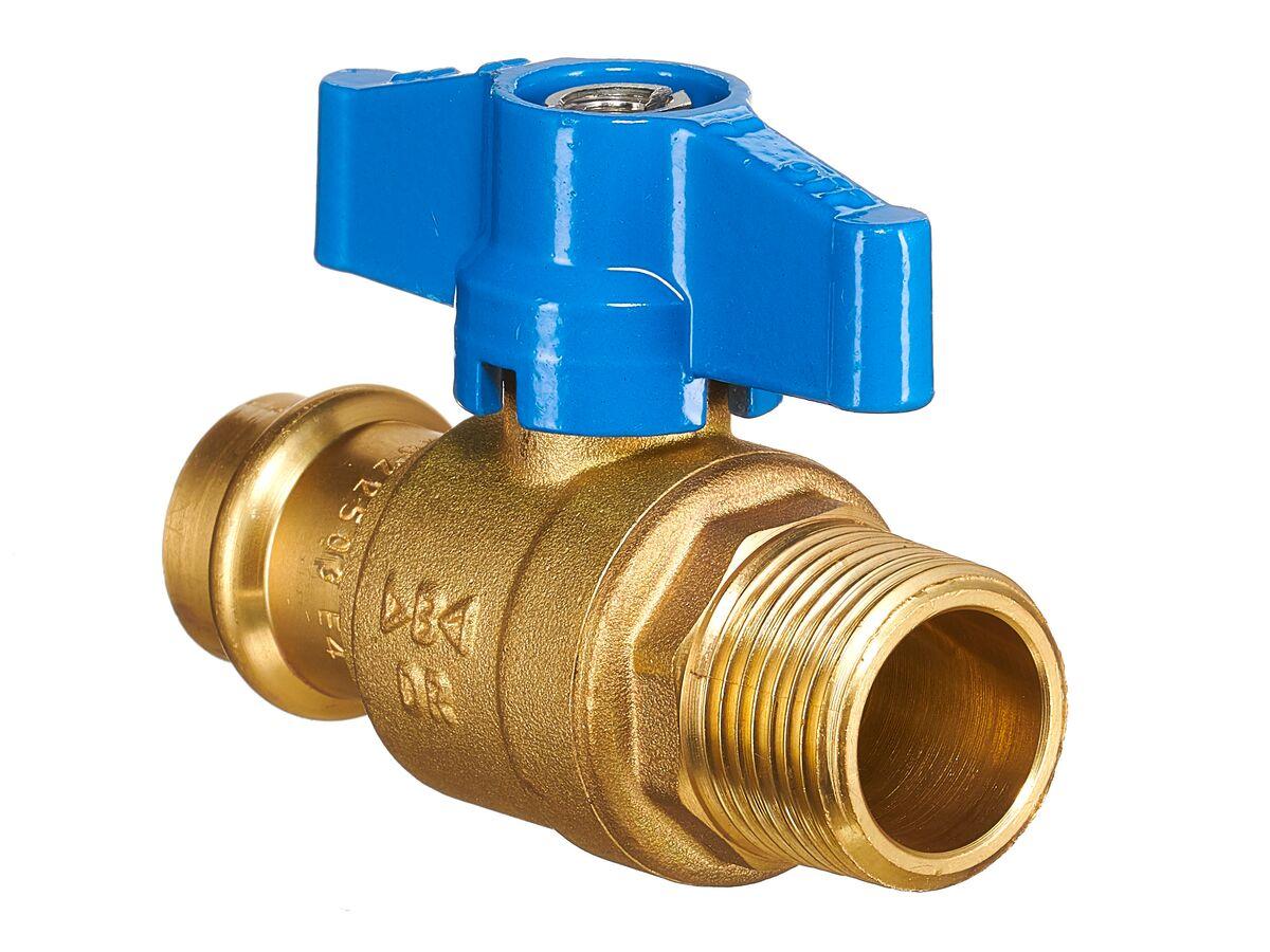 "B-Press Ball Valve Water T-Handle copper DN20 x Male BSP 3/4"""""