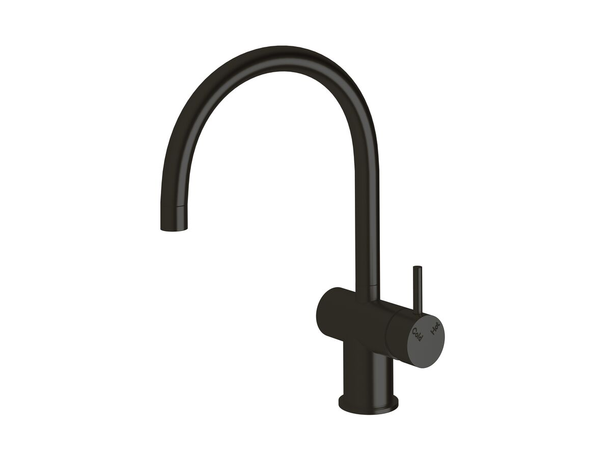 Scala Sink Mixer Curved Large RH LUX PVD Matte Opium Black (4 Star)