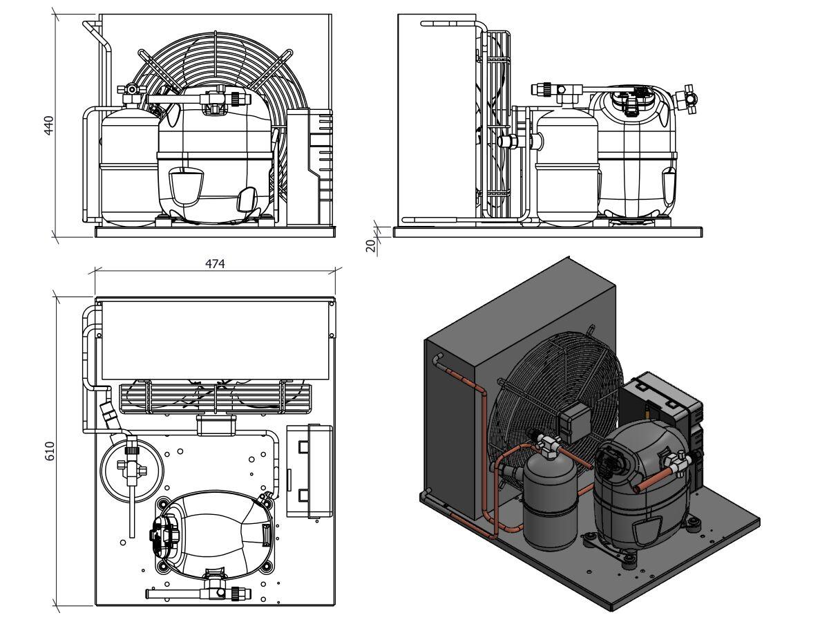 Tecumseh Condensing Unit R404a Cajt4517zhr Fz S 1 1 4 Hp From Reece