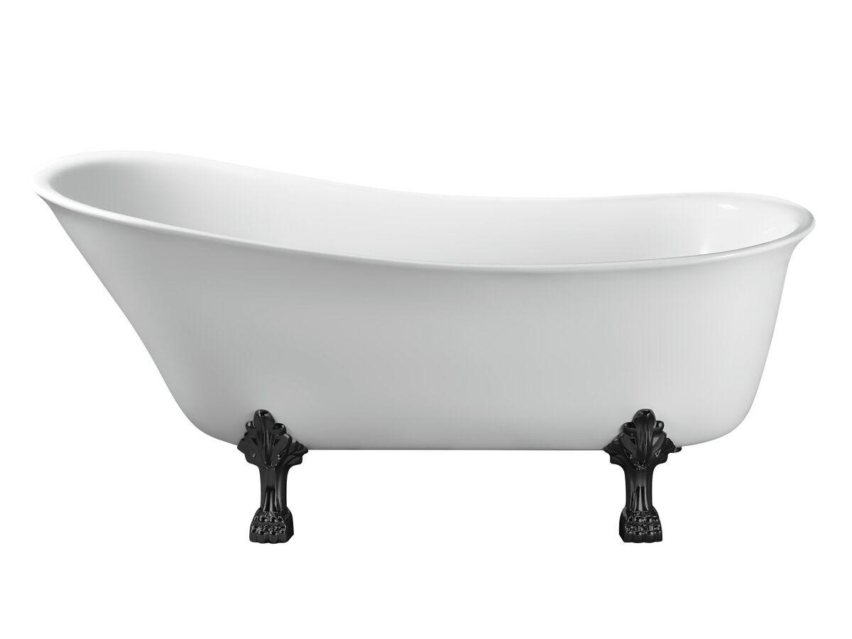 Kado Era Freestanding Bath 1700mm White with Matte Black Claw Feet
