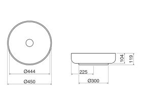 Alape Sondo Counter Basin 450mm No Taphole White