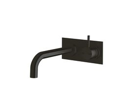 Scala 25mm Curved Wall Basin Mixer Tap System RH 200mm LUX PVD Matte Opium Black (6 Star)