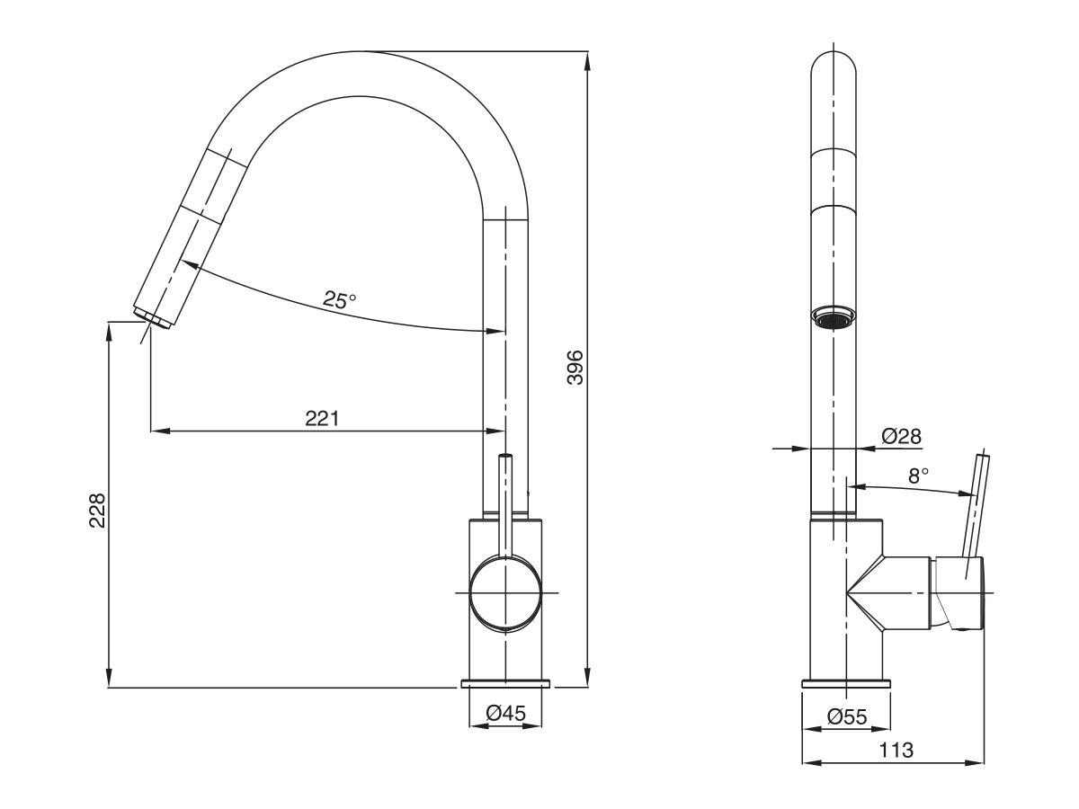 Mizu Drift MK2  Gooseneck Pull Out Sink Mixer Tap (4 Star)