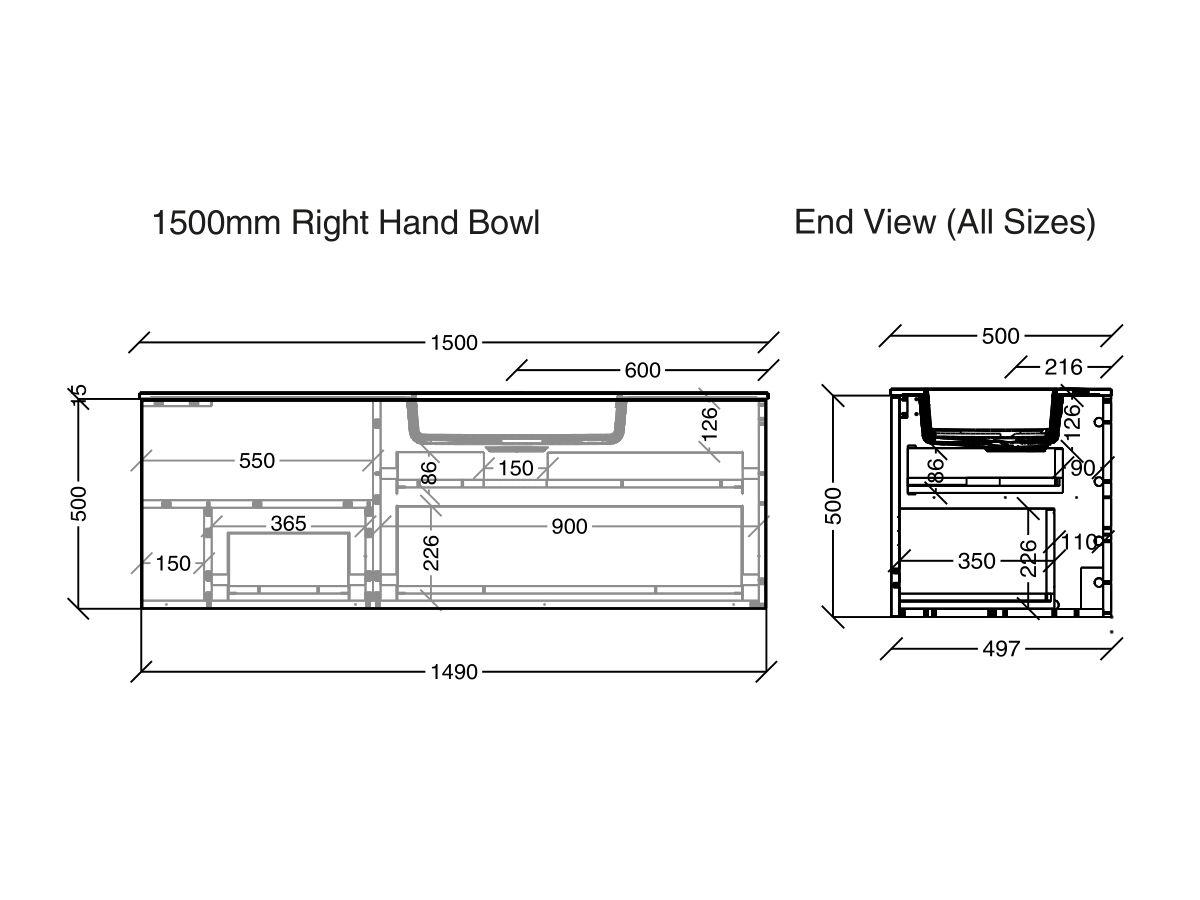 Kado Aspect Vanity Unit Wall Hung With Handle 1 Drawer 1500 Right Hand Basin