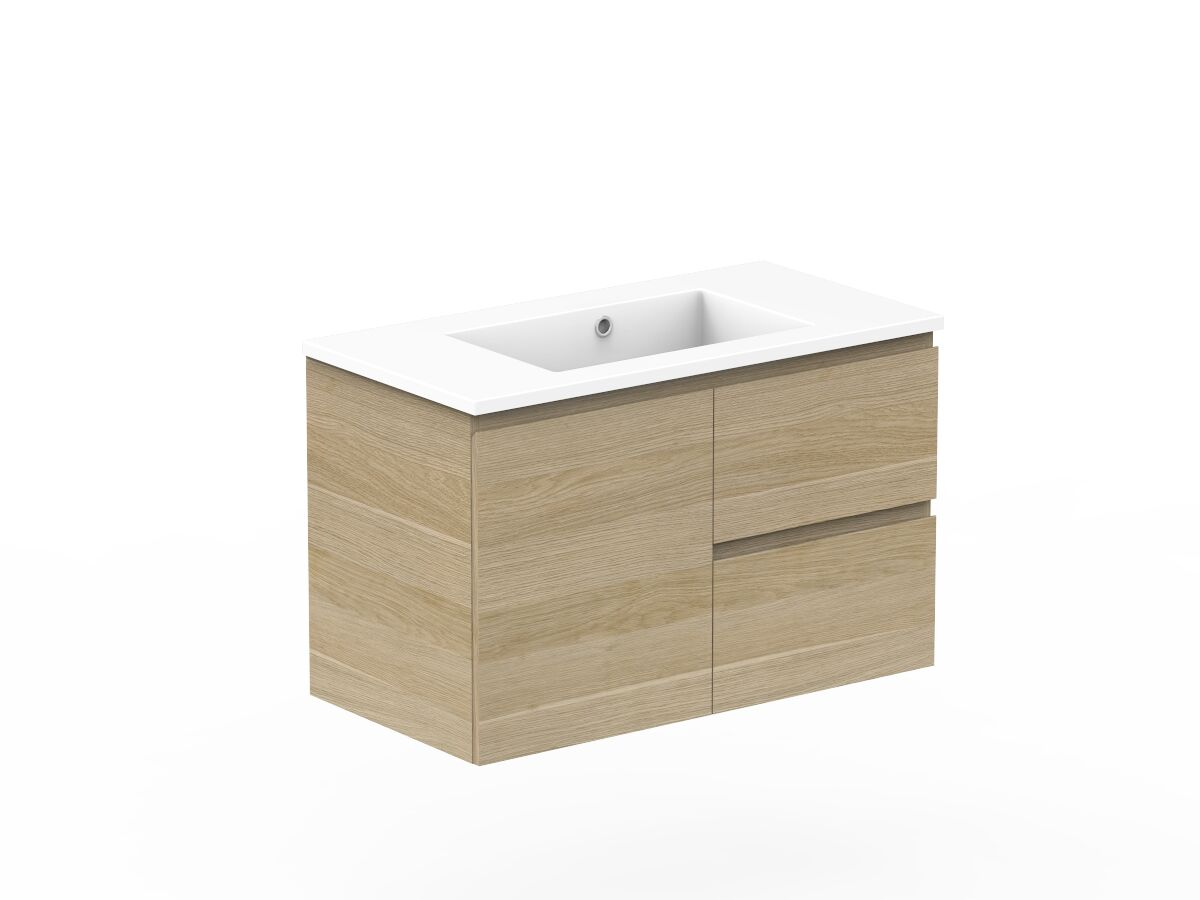 Posh Domaine Plus Conventional  900mm Wall Hung Vanity Cast Marble Top Centre Basin