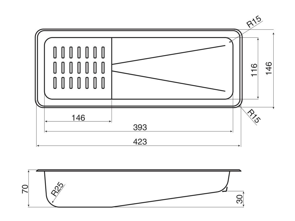 AFA Exact Colander 423 x 146mm Stainless Steel