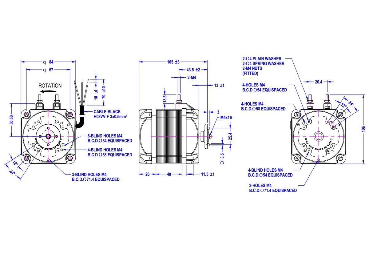 Universal Square Fan Motor 25 watt