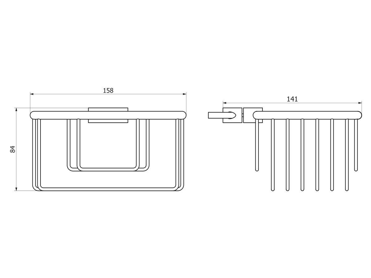 Posh Solus Shower Rail Basket 160 x 140 x 80mm Chrome