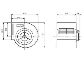 Technical Drawing - Single Forward Curve Blower KDD10-10-550W