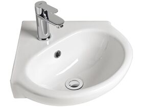 American Standard Studio Corner Wall Basin 1 Taphole with Fixing Kit 450mm White