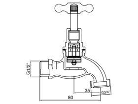Bib Hose Male T-Head (O-Ring) 15mm