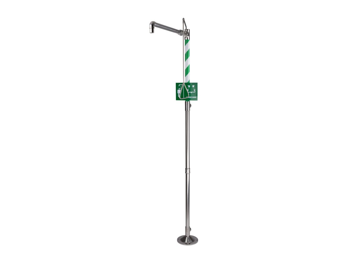 Wolfen Freestanding Safety Shower Hand Operated Polished Stainless Steel