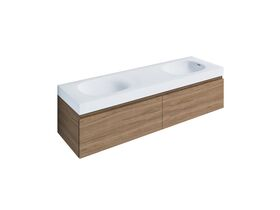 Kado Lussi 1500mm Wall Hung Vanity Unit Double Bowl with Two Soft Close Drawers Timber Finish
