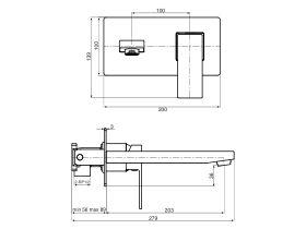 Mizu Bloc MK2 Wall Bath Mixer Set Chrome