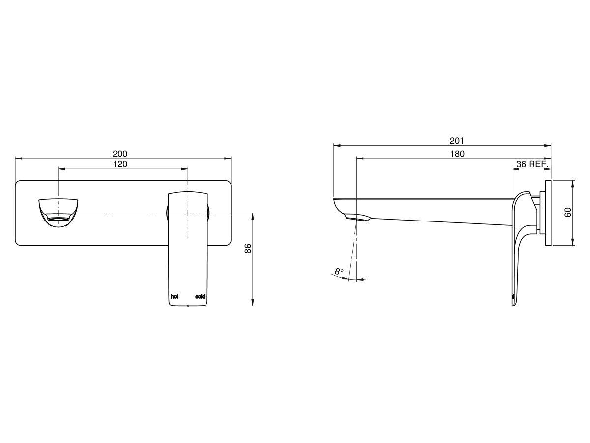 Milli Glance Wall Bath Mixer Set 180mm Chrome