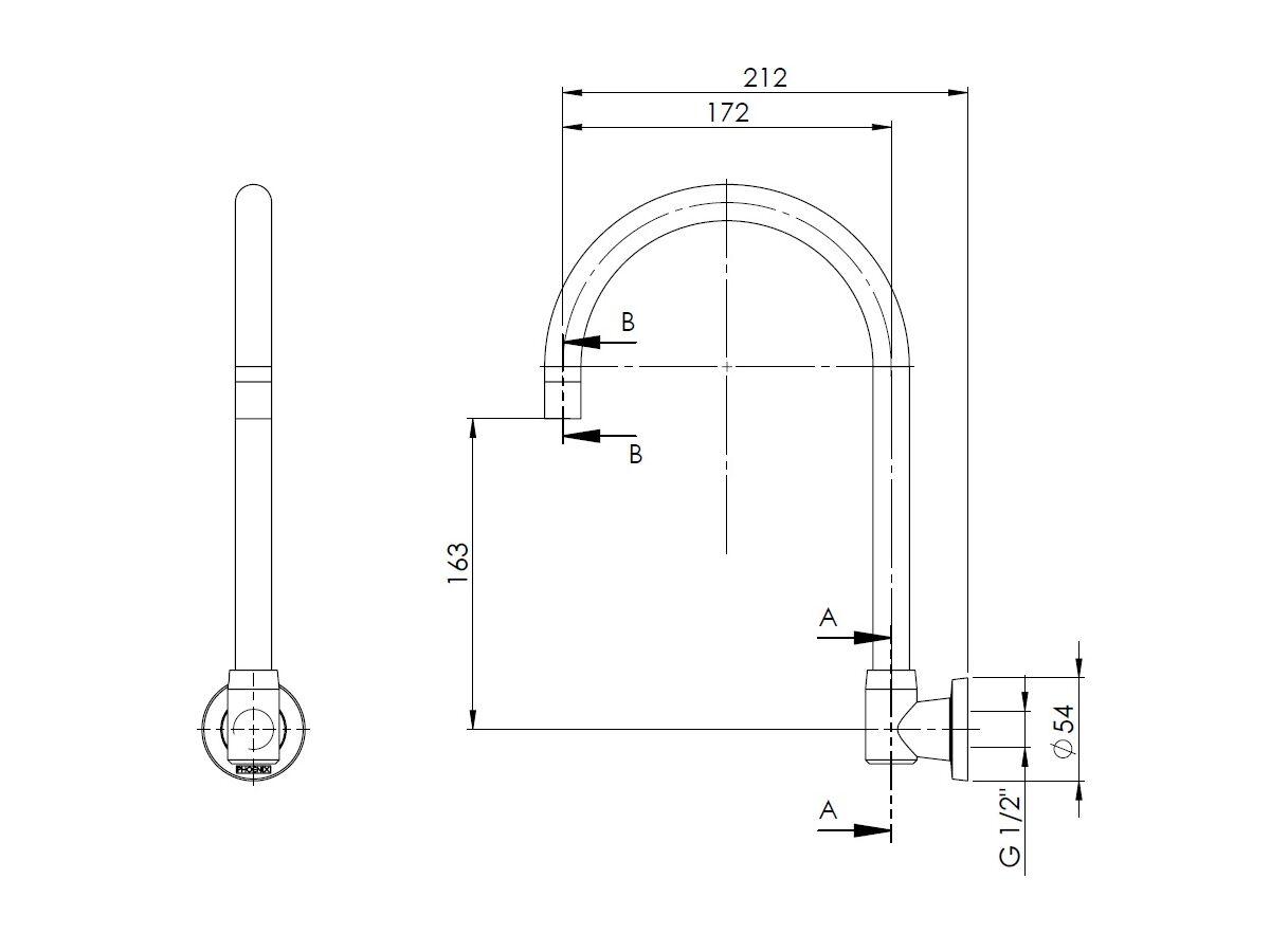 Phoenix Gen X Wall Sink Outlet- G/Neck Chrome (3 Star)