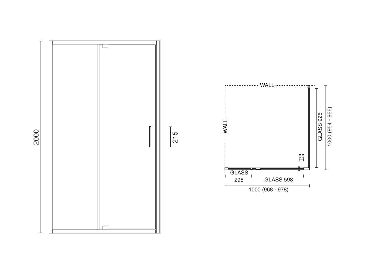 Base MKII Shower Screen 1000mm x 1000mm Chrome