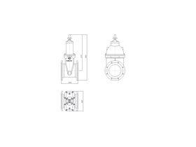 Line Drawing - 225 DIMAX FL PN16 RS GATE VALVE B5