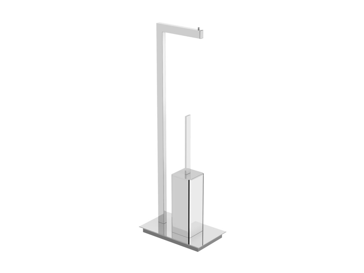 Milli Edge Freestanding Toilet Roll Holder & Toilet Brush Set Chrome