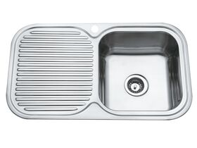 Base MK3 Single Bowl Sink 1 Taphole Right Hand Bowl 850mm Stainless Steel